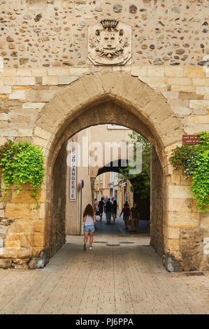 People walking through the old town, Tournon sir Rhone, Ardeche, Rhone Alps,France - Stock Image