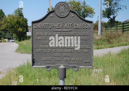 Kit Carson sign in Richmond Kentucky - Stock Image