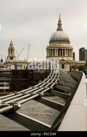 Section of the Wobbly Bridge London ( London Millennium Footbridge ) Crossing over the River Thames leading to St Paul's Cathedral, England. - Stock Image