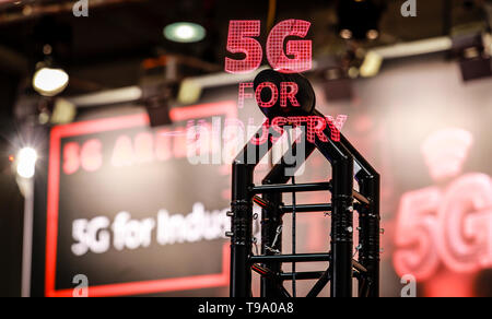 31.03.2019, Hannover, Lower Saxony, Germany - 5G for Industry Projection at the Hannover Fair. 00X190331D030CAROEX.JPG [MODEL RELEASE: NO, PROPERTY RE - Stock Image