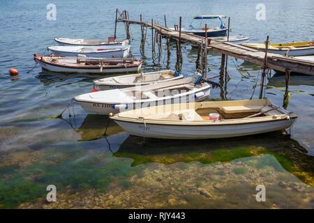 Jetty with moored boats.  Porec, Istria County, Croatia. - Stock Image