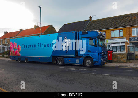 Teeuwen Flowers being delivered by a large truck directly from the Netherlands to a small Florist Shop in a North Yorkshire Village England - Stock Image