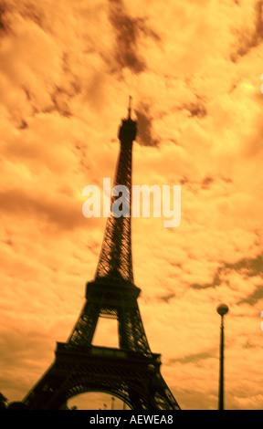 France Paris Eiffel tower sepia blurred - Stock Image