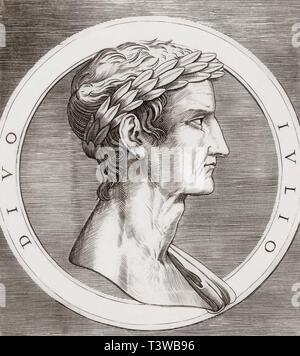 Julius Caesar, 100 BC-44 BC.  Dictator of the Roman Republic, military general, politician, author of his own histories. - Stock Image