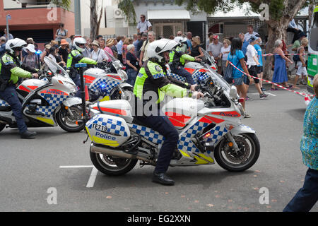 Western Australian motorcycle police officers performing crowd control at a public event in Perth. - Stock Image