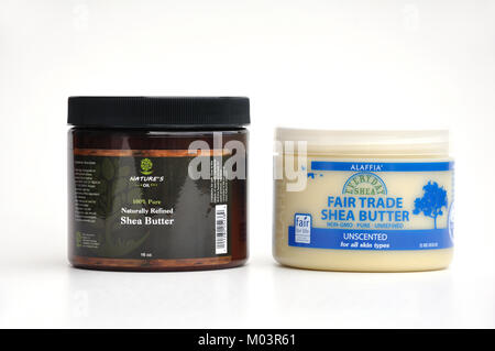 Shea butter in jars - Stock Image
