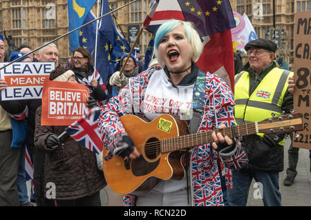 London, UK. 15th January 2019. Yellow-jacketed protesters try to shout down EU Supergirl Madeleina Kay (Alba White Wolf) as she sings in praise of Europe. Groups against leaving the EU, including SODEM, Movement for Justice and In Limbo and Brexiteers Leave Means Leave and others protest opposite Parliament as Theresa May's Brexit deal was being debated. Credit: Peter Marshall/Alamy Live News - Stock Image