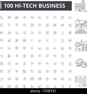 Hitech business line icons, signs, vector set, outline illustration concept  - Stock Image