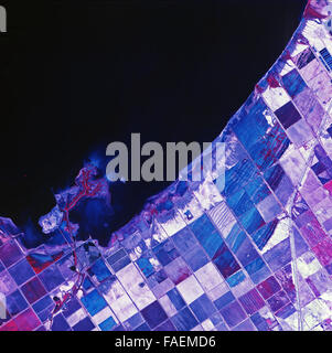 historical infrared aerial photograph of Salton Sea, Imperial County, California, 1972 - Stock Image