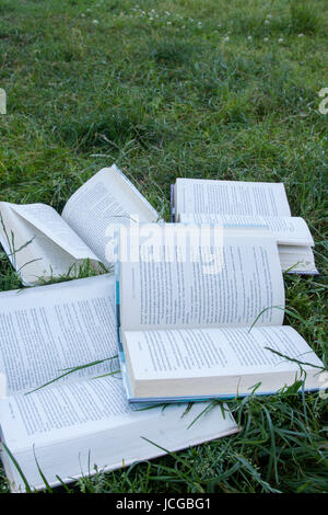Books in nature. - Stock Image