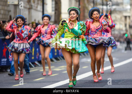 Bolivia in London female dancers at London's New Year's Day Parade 2019 in London, UK. - Stock Image