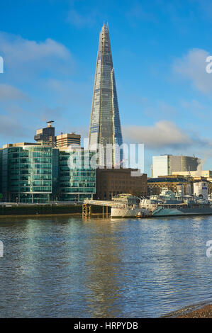 The Shard on the south bank of the River Thames in London dominates the skyline and is the tallest building in the - Stock Image