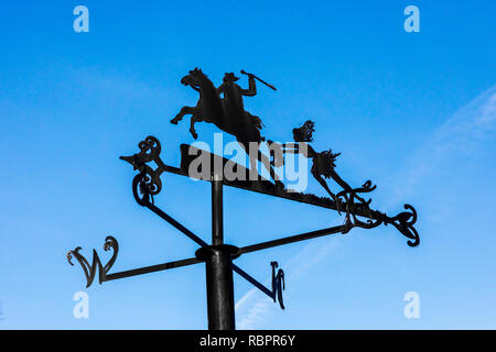 Weather vane at the Robert Burns Museum, Alloway, Ayr, representing a scene out of the Bard's famous poem 'Tam O'Shanter'when Meg runs over the Brig - Stock Image