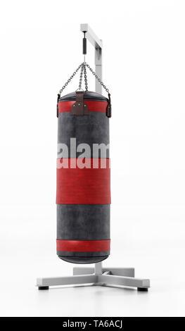 Boxing sandbag hanging on the chain. 3D illustration. - Stock Image
