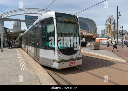 Netherlands, Rotterdam, 2017, Tramway system the RET in a city center station. - Stock Image