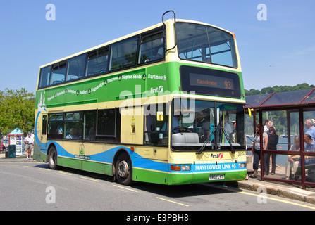 First Group, Mayflower Link 93, double decker bus, Dartmouth, Devon, England, UK - Stock Image