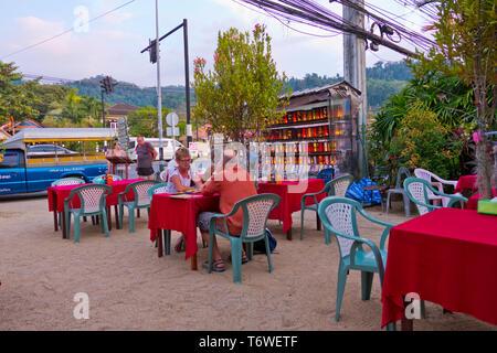 Restaurant terrace, Phet Kasem Road, Khao Lak, Thailand - Stock Image