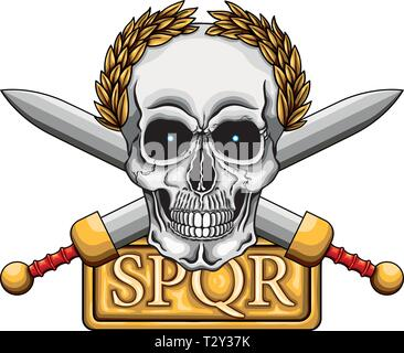 Vector illustration of human skull with golden laurel crown, two roman swords and board with word SPQR, the classic roman empire acronym that means 's - Stock Image