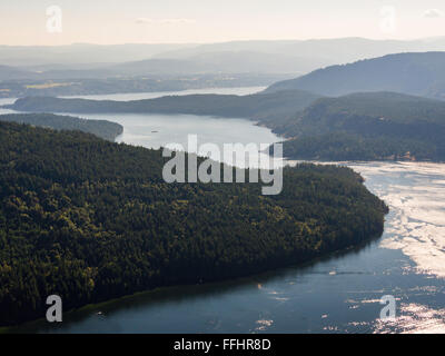 View south to Sansum Narrows from Baynes Peak at the summit of Mount Maxwell, Salt Spring Island, BC, Canada - Stock Image