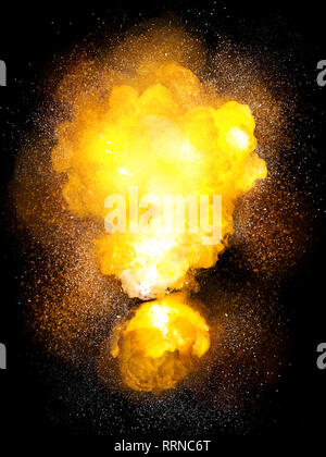 Realistic bomb hot explosion, orange color with white sparks isolated on black background - Stock Image