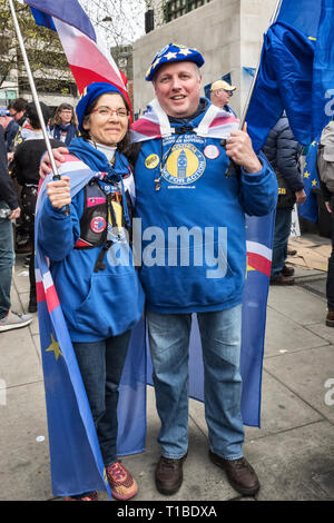 London, UK, 23rd March 2019. A million protestors march against Brexit and in support of a second referendum. Members of SODEM (an anti-Brexit group) - Stock Image