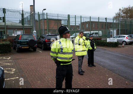 Kidlington, Oxford, UK. 24th November 2018. Campsfield House Immigration Removal Centre 25th Anniversary Demonstration. On the 25th November 1993 the first immigration detainees were brought from Harmondsworth to Campsfield and the campaign for the closure of Campsfield House had begun. Protests have taken place on a monthly basis, with larger annual anniversary protests. Recently the Home office announced Campsfield House will close next year, and the @CloseCampsfield movement will continue Campaigning to end immigration detention, imprisonment and deportation. Credit: Stephen Bell/Alamy Live - Stock Image