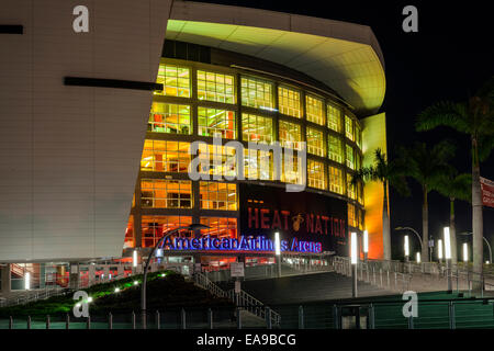 Night time view of the entry and steps to the American Airlines Arena on Biscayne Blvd. in Miami, Florida, USA. - Stock Image