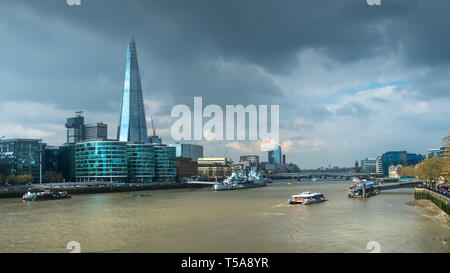 A panoramic view of the River Thames in London. - Stock Image
