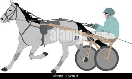 horse and jockey harness racing color illustration - vector - Stock Image