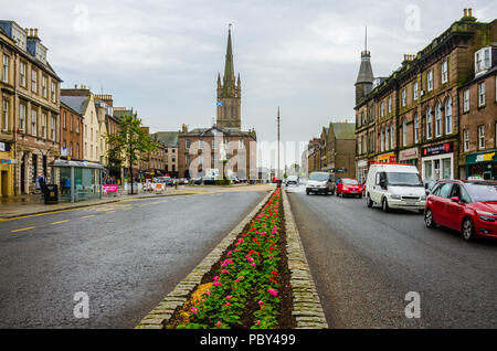 A view down Montrose High Street in Scotland, UK. - Stock Image