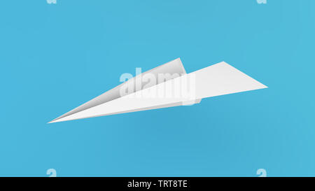 paper plane isolated 3d rendering - Stock Image