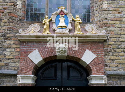 Head stone over a door in the back of church in Franeker, Fryslan, The Netherlands - Stock Image