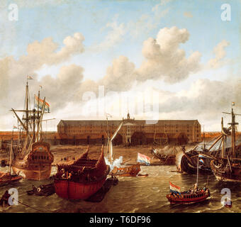 The dock of the Dutch East India Company (VOC) at Amsterdam, Netherlands by Ludolf Bakhuizen, 1696 - Stock Image
