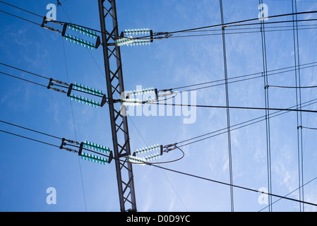 High-voltage power lines leaving from the power plant - Stock Image