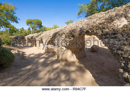 ruins of the ancient Roman circus, landmark and monument from first century, in Toledo city, Castilla La Mancha, Spain, Europe - Stock Image