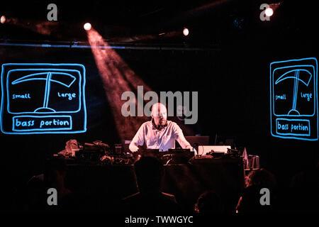 Copenhagen, Denmark. 22nd June, 2019. Copenhagen, Denmark - June 22nd, 2019. The English music producer, DJ and composer Mr. Scruff performs a live DJ-set at Pumpehuset in Copenhagen. (Photo Credit: Gonzales Photo/Alamy Live News - Stock Image