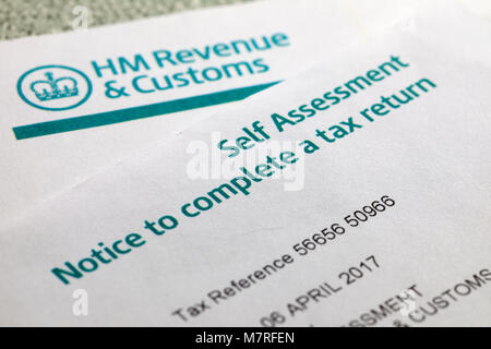 Self assessment notice to complete a tax return - Stock Image