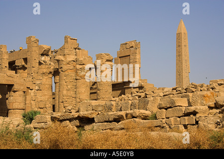 Part of the Temple of Karnak Complex, Luxor, Egypt. Obelisk of King Tutmosis in the Background - Stock Image