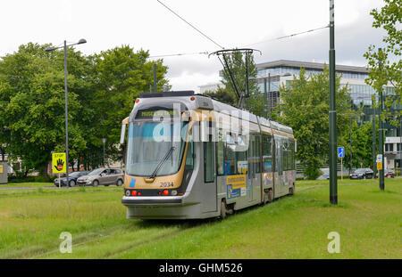 Brussels Low Floor Bombardier Tram No. 2034 -1 - Stock Image