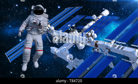 Astronaut in space floating above space station, cosmonaut with spacecraft in the background, 3D rendering - Stock Image