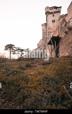 Photo of medieval castle in Austria burg lichtenstein in summer - Stock Image