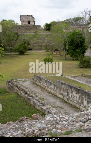 Uxmal Archeological Site with the House of the Turtles in the Background, Yucatan Peninsular, Mexico. - Stock Image
