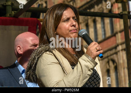 London, UK. 13th October 2018.   Sabby Dhalu co-convenor of Stand Up To Racism introudces the speakers at the rally in London to oppose racism  and fascism close to where the racist, Islamophobic DFLA were ending their march on Whitehall bringing together various groups to stand in solidarity with the communities the DFLA attacks. The event was organised by Stand Up To Racism and Unite Against Fascism. Peter Marshall/Alamy Live News - Stock Image