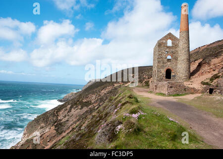 The Towanroath engine house at Wheal Coates between St Agnes and Porthtowan on the North Coast in Cornwall used - Stock Image