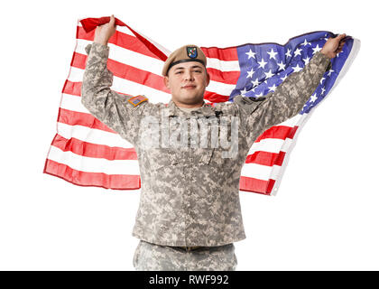 Army Ranger from Special Troops Battalion wearing U.S. flag on his shoulders. - Stock Image