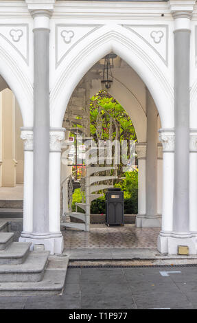 Pointed arch of portico CHIJMES Convent of the Holy Infant Jesus Chapel converted into social hall function event centre Singapore. - Stock Image