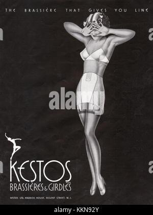 1938 UK Magazine Kestos Bras & Girdles Advert - Stock Image
