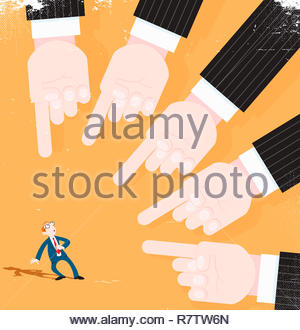 Lots of hands pointing at worried businessman - Stock Image