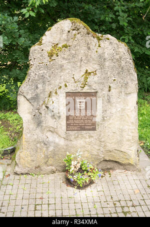 War memorial sculpture to the soldiers of the 80th U.S. Infantry Division killed crossing the river Sauer, near Echternach, Grevenmacher, Luxembourg - Stock Image