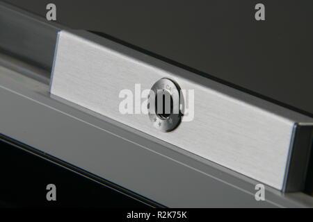 A close up shot of a laptop camera - Stock Image